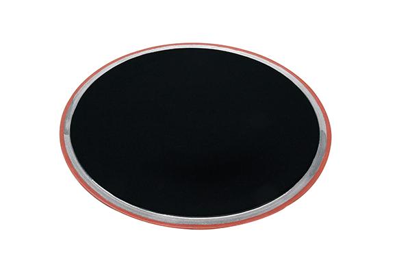 黒釉銀彩雲母赤 25cm二重高台皿
