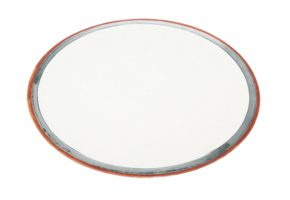 白釉銀彩雲母赤 25cm二重高台皿