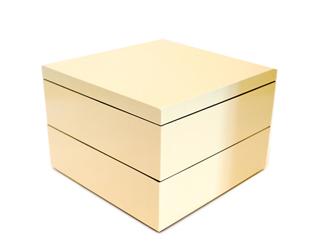 6.5寸マス重 2段 絹白 【重箱】【在庫がなくなり次第販売終了】