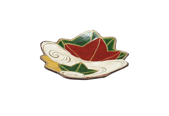 乾山写し紅葉絵 紅葉型皿