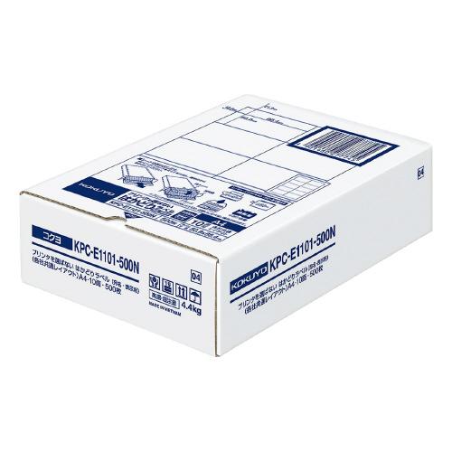 登場大人気アイテム コクヨ OAラベル レーザー インクジェットプリンター両用 A4判 人気ブランド 10面 メーカー品番:KPC-E1101-500N 入り数:500枚 はかどりラベル ラベルサイズ:W86.4xH50.8mm 白色度約85%
