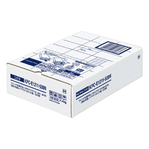 コクヨ OAラベル レーザー インクジェットプリンター両用 A4判 21面 優先配送 白色度約85% ラベルサイズ:W70xH42.3mm はかどりラベル 台紙からはがしやすい メーカー品番:KPC-E1211-500N 入り数:500枚 高額売筋