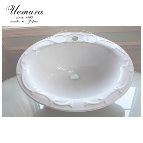 要在庫確認 洗面ボウル 上村陶磁器 フレンチコレクション フレンチヌーボー WS-13 日本製 送料無料 陶器 洗面器 手洗い器 半埋め込み