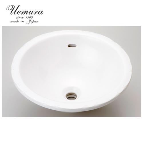 要在庫確認 洗面ボウル 上村陶磁器 ホワイトウォッシュボウル 無地ラウンドL WS-10 日本製 送料無料 陶器 洗面器 手洗い器 半埋め込み