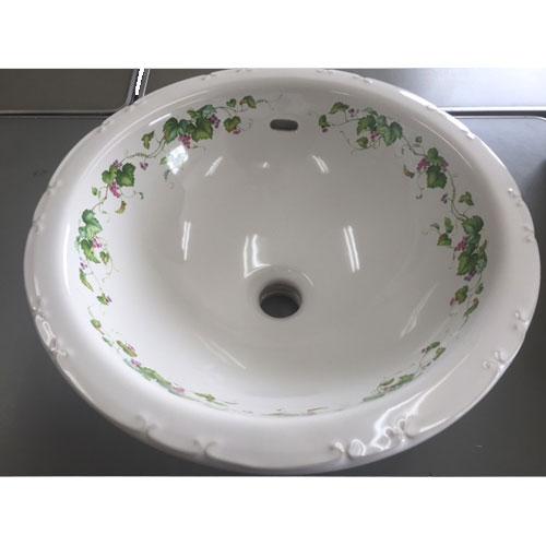 受注生産 洗面ボウル 上村陶磁器 ハンドメイドコレクション ラウンドLウォッシュボウル ダマスクローズ AIT-WSH05 日本製 送料無料 陶器 洗面器 手洗い器 半埋め込み