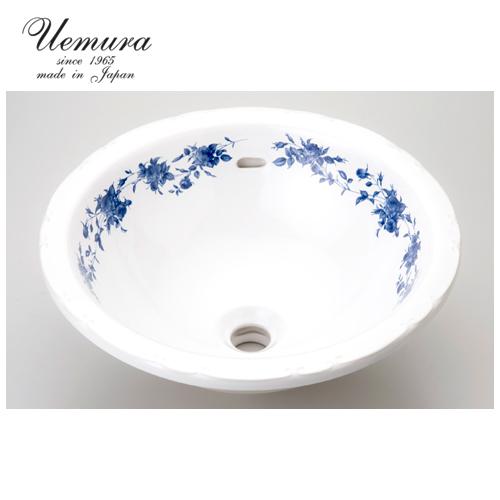 要在庫確認 洗面ボウル 上村陶磁器 ラウンドLウォッシュボウル ブルージョセフィーヌ AJS-107 日本製 送料無料 陶器 洗面器 手洗い器 半埋め込み