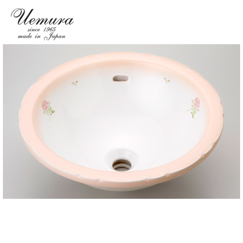 要在庫確認 洗面ボウル 上村陶磁器 ラウンドLウォッシュボウル クラシックローズ KS04-062 日本製 送料無料 陶器 洗面器 手洗い器 半埋め込み