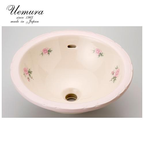要在庫確認 洗面ボウル 上村陶磁器 ラウンドLウォッシュボウル シェルブールローズ ASR-028 日本製 送料無料 陶器 洗面器 手洗い器 半埋め込み