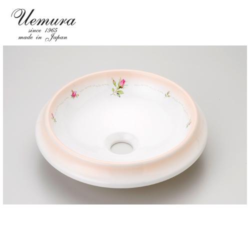 要在庫確認 洗面ボウル 上村陶磁器 ラウンドSウォッシュボウル フランシーヌローズ AFR-039 日本製 送料無料 陶器 洗面器 手洗い器 半埋め込み