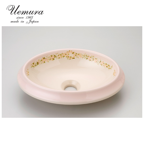 要在庫確認 洗面ボウル 上村陶磁器 オーバルSウォッシュボウル レ・ローズ PE1000-38 日本製 送料無料 陶器 洗面器 手洗い器 半埋め込み