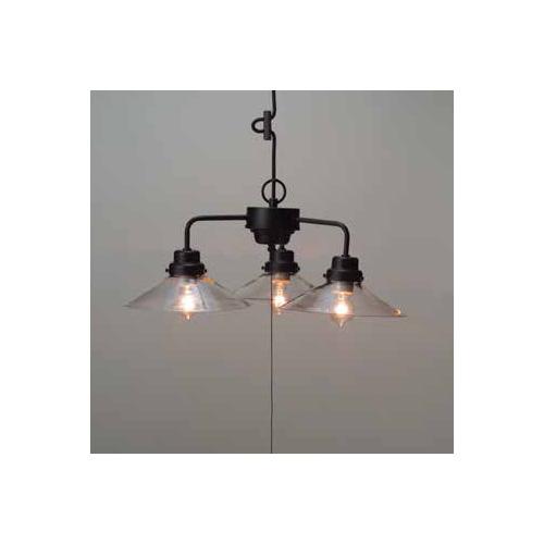 後藤照明 屋内照明 ペンダントライト 透明P1硝子ロマン・3灯用CP型BK GLF-3228C