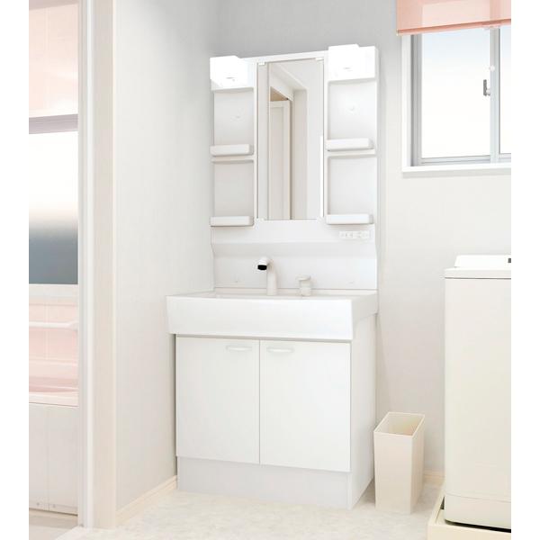 洗面化粧台 ハウステック QVシリーズ 開き扉タイプ 1面鏡 ホワイト 白 間口750 節湯 お手入れ簡単 使い勝手 ドレッサー 送料無料