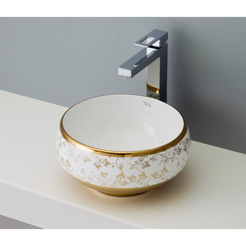 mizunohana 置き型洗面ボウル ELEGANT WHITE エレガントホワイト25 B046 手洗い器 デザイン 陶磁器 ガラス おしゃれ かわいい シンプル モダン カラフル