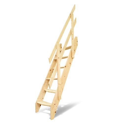DOLLE 新商品 木製ロフト階段 デザインステップ 片側手すり仕様 ドーレ 木製 ロフト はしご 至上 階段 スプルース 踏み板 組み立て 手すり 階段キット 側板 デンマーク 北欧