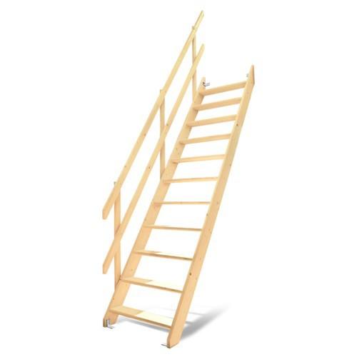 DOLLE ドーレ ワイドステップ 片側手すり仕様 木製 ロフト はしご 階段 北欧 デンマーク スプルース 手すり 踏み板 側板 階段キット 組み立て