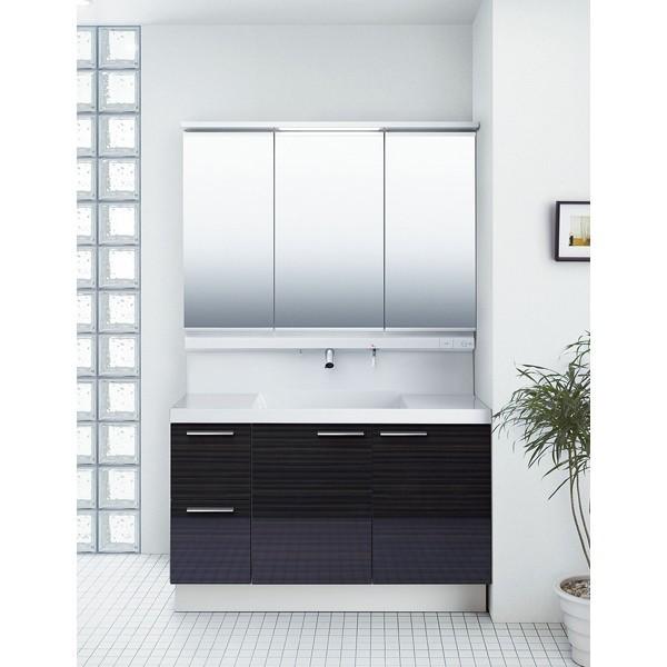 洗面化粧台 リクシル L.C. エルシィ 引出タイプ 3面鏡 LED照明 全収納 間口1200 カームウッドダーク シンプル 高級感 便利 送料無料