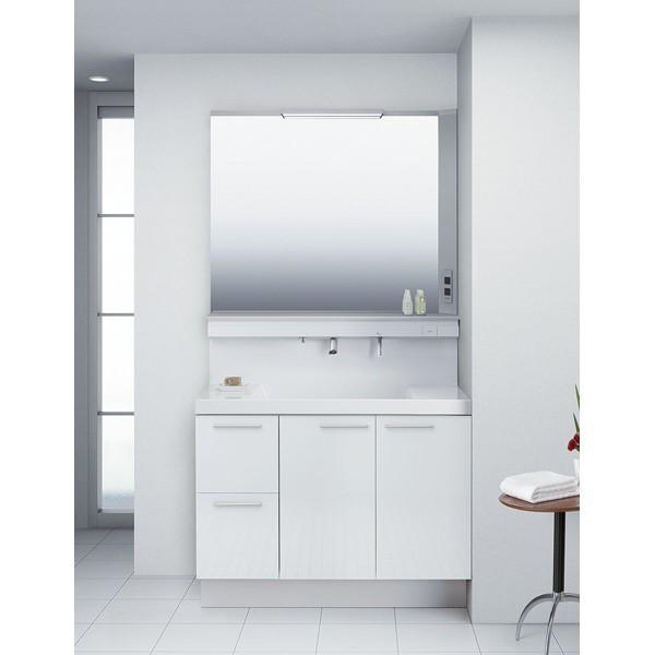 洗面化粧台 リクシル L.C. エルシィ 引出タイプ 1面鏡 LED照明 間口1000 グロスホワイト 高級感 便利 おしゃれ 収納 送料無料
