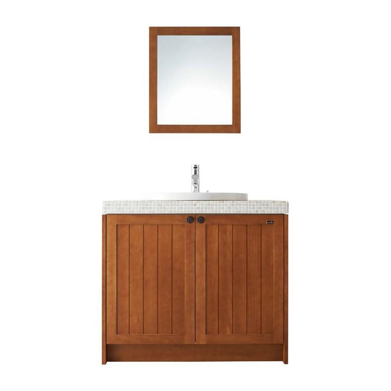 WOODONE ウッドワン 洗面化粧台 無垢の木の洗面台 NZ40 ミディアムブラウン 間口945mm 両開き仕様 タイル 人造大理石 カウンター