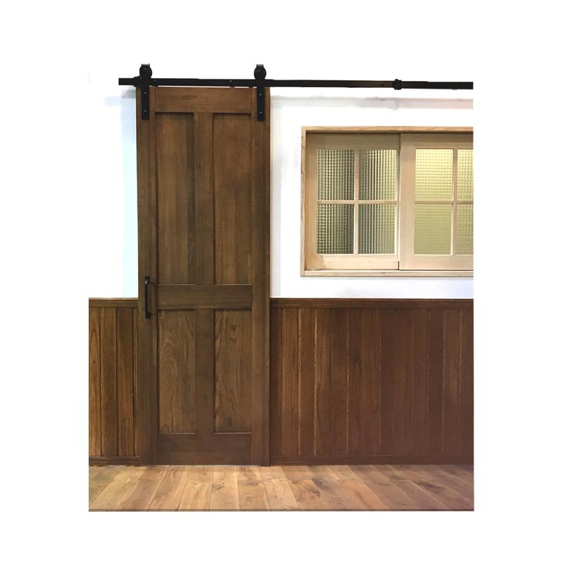 スライディングドアで、レールが外側についたスタイルです ドア金物 バーンドア バーンドアハードウェア(Wソフトクローザー機能付) 1セット ドアレール アイアン金物 引き戸用