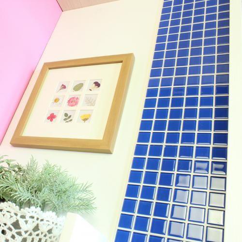 送料無料 DIY TILE モザイクタイル ガラス ブルー がっちりシール 10シート