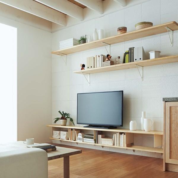 無垢の木の収納 TV台収納プラン OM-004 本物 WOODONE 正規激安 ニュージーパイン ウッドワン テレビまわり システム収納