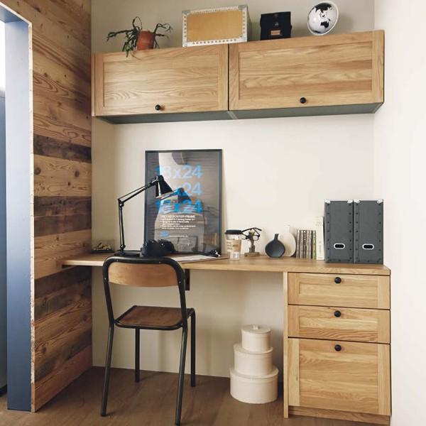WOODONE ウッドワン 無垢の木の収納 デスクプラン UB-001 書斎 趣味室 仕事部屋 ニュージーパイン オーク メープル ウォールナット システム収納