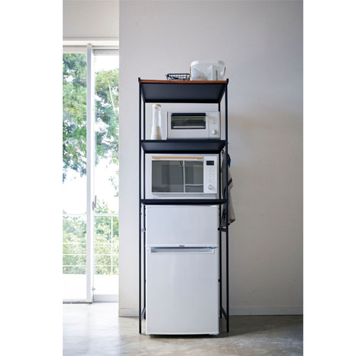 冷蔵庫上ラック タワー ブラックキッチン 棚 収納 冷蔵庫 シンプル デザイン 山崎 Yamazaki 整頓 ラック