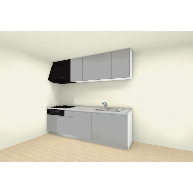 クリナップ システムキッチン rakuera(ラクエラ) 壁付けタイプ I型 間口2550mm 開き扉プラン コンフォートシリーズ 標準セット