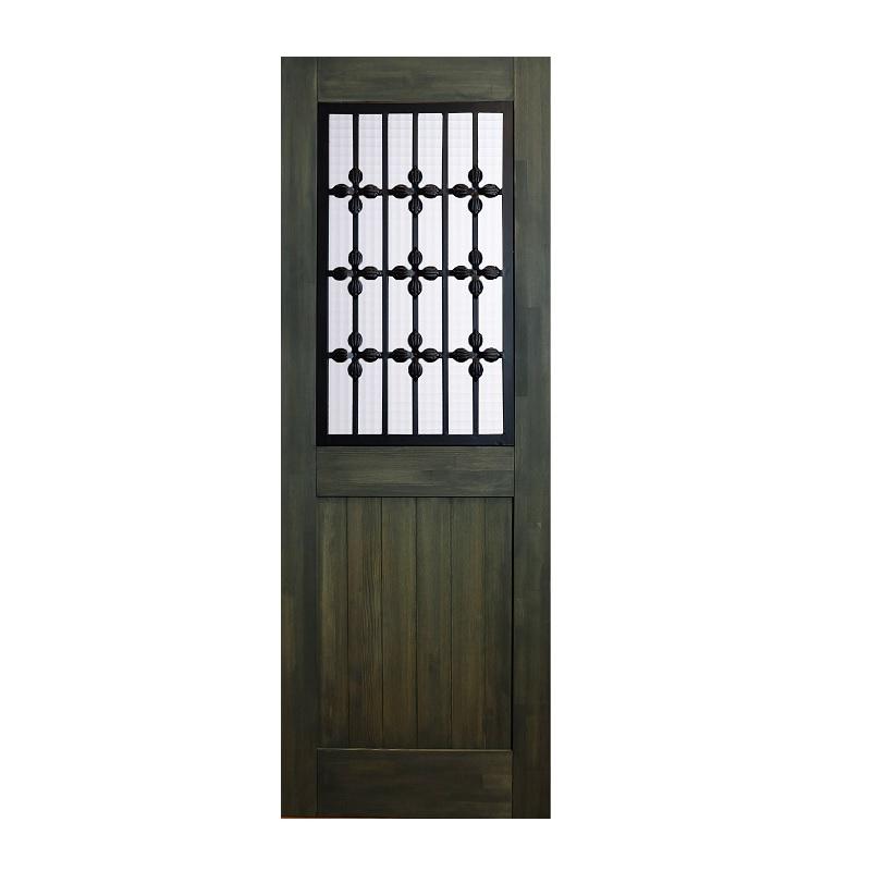 LOHAS material 無垢建具 室内ドア アイアンシリーズ ID07 パイン 無塗装 扉 自然素材 木製 戸 特注 インテリア インダストリアル 鉄 オーダー デザイン 格子