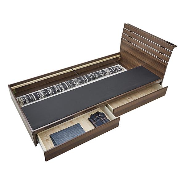 OK-DEPOT material 家具 引き出し付きベッド B-90S-BR 送料無料 おしゃれ ベッド 寝具 ダイニング 寝室 デザイン シンプル ナチュラル