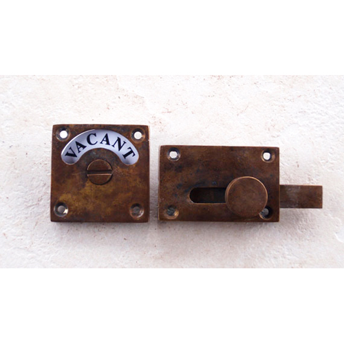 ドアオプション 表示錠 アンティーク加工真鍮表示錠 square-BPB-AN