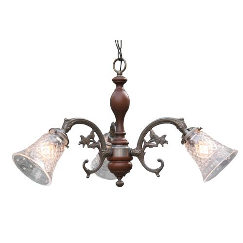 照明器具 サンヨウ アンティーク調 屋内 リビング 廊下 シェード ランプ 真鍮 灯具 シャンデリア FC-621A3W 006 送料無料