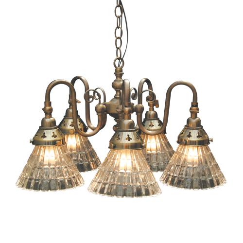 照明器具 サンヨウ アンティーク調 屋内 リビング 廊下 シェード ランプ 真鍮 灯具 シャンデリア FC-122A5 318 送料無料