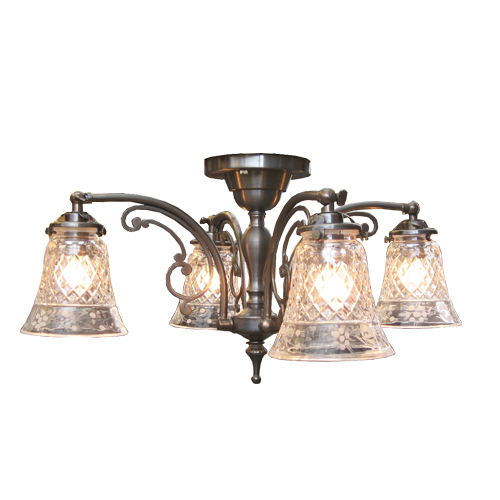 照明器具 サンヨウ アンティーク調 シェード ランプ 真鍮 灯具 シャンデリア シーリングランプ 天井直付け型 CP1204A 006 送料無料