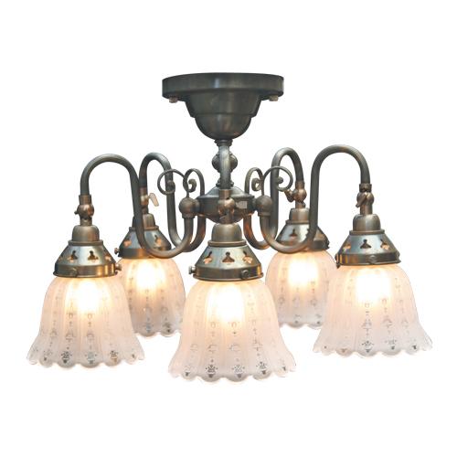 照明器具 サンヨウ アンティーク調 シェード ランプ 真鍮 灯具 シャンデリア シーリング 天井直付け型 FC-125A5 1919 送料無料