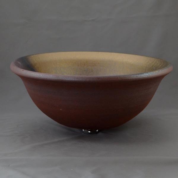 重蔵窯 洗面ボウル 利休信楽焼手洗い鉢 黄金焼締め 020-36 洗面化粧台 送料無料 個性的 デザイン性