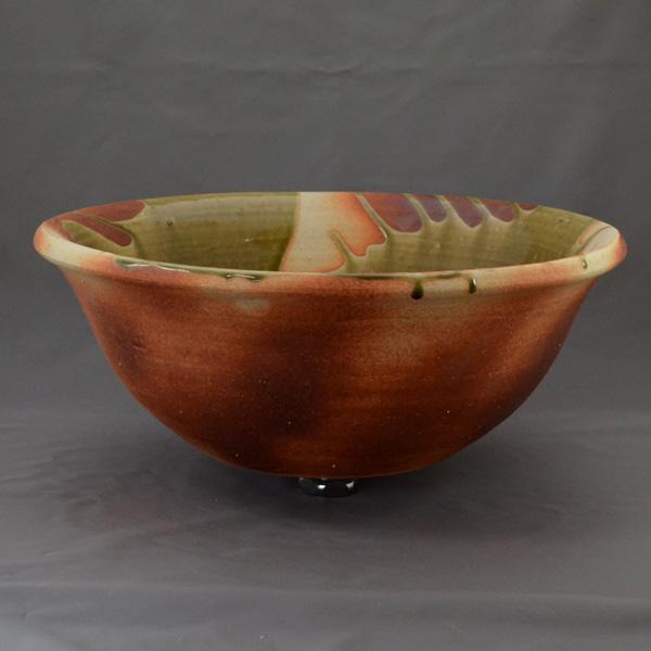 重蔵窯 洗面ボウル 利休信楽焼手洗い鉢 炎栗灰 003-36 洗面化粧台 送料無料 個性的 デザイン性