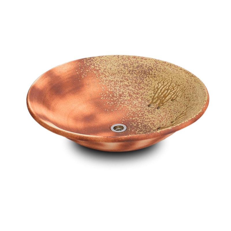 重蔵窯 洗面ボウル 利休信楽焼手洗い鉢 炎栗灰(ほのおくりばい) 001-50 洗面化粧台 送料無料 個性的 デザイン性