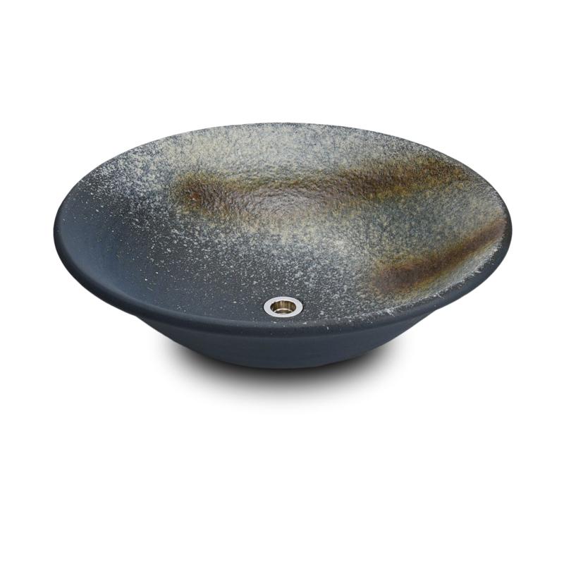 重蔵窯 洗面ボウル 利休信楽焼手洗い鉢 藍古(あいこ) 006-50 洗面化粧台 送料無料 個性的 デザイン性