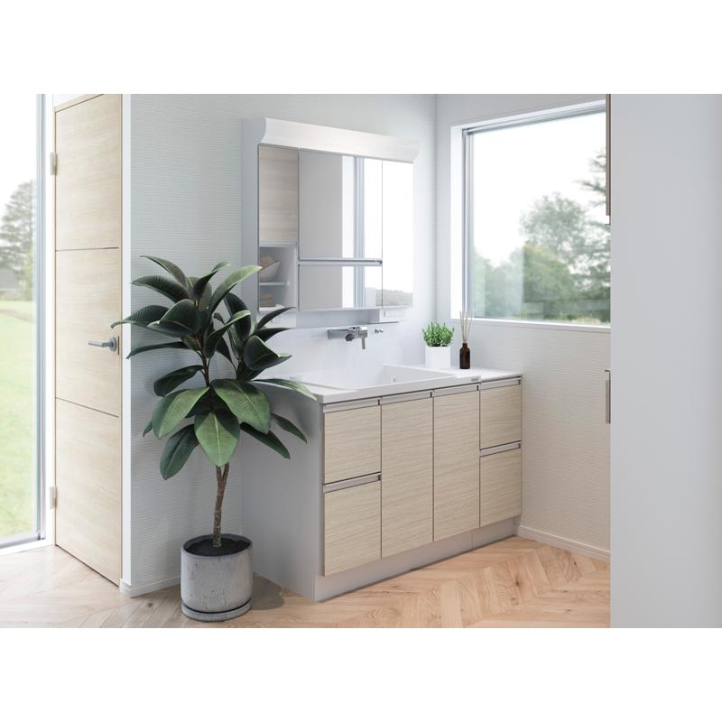 Housetec 洗面化粧台 COCOSH(ココッシュ) セットプラン W1200mm 洗面化粧台900mm+周辺収納300mm マルチミラー 片引き出しタイプ ハウステック