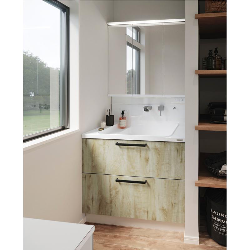 Housetec 洗面化粧台 COCOSH(ココッシュ) セットプラン W900mm 洗面化粧台900mm 三面鏡(スリムLED) 全引き出しタイプ ハウステック