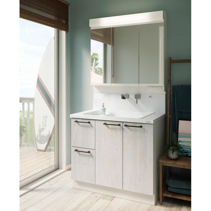 Housetec 洗面化粧台 COCOSH(ココッシュ) セットプラン W900mm 洗面化粧台900mm 三面鏡(ベーシックLED) 片引き出しタイプ ハウステック