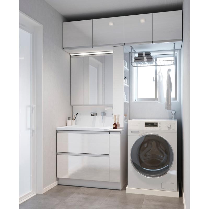 Housetec 洗面化粧台 COCOSH(ココッシュ) セットプラン W1650mm 洗面化粧台750mm+周辺収納900mm 三面鏡(スリムLED) 全引き出しタイプ ハウステック