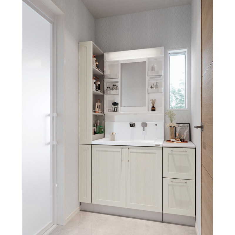 Housetec 洗面化粧台 COCOSH(ココッシュ) セットプラン W1200mm 洗面化粧台750mm+周辺収納450mm 一面鏡 開き扉タイプ ハウステック