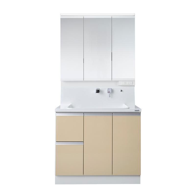 Housetec 洗面化粧台 COCOSH(ココッシュ) 間口900 片引き出しタイプ 三面鏡(スリムLED照明付き) 扉Aカラー 一般地仕様 ハウステック