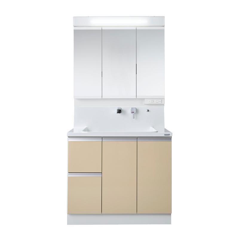 Housetec 洗面化粧台 COCOSH(ココッシュ) 間口900 片引き出しタイプ 三面鏡(ベーシックLED照明付き) 扉Aカラー 一般地仕様 ハウステック