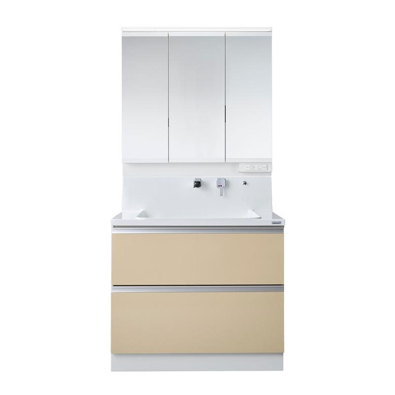Housetec 洗面化粧台 COCOSH(ココッシュ) 間口900 全引き出しタイプ 三面鏡(スリムLED照明付き) 扉Aカラー 一般地仕様 ハウステック