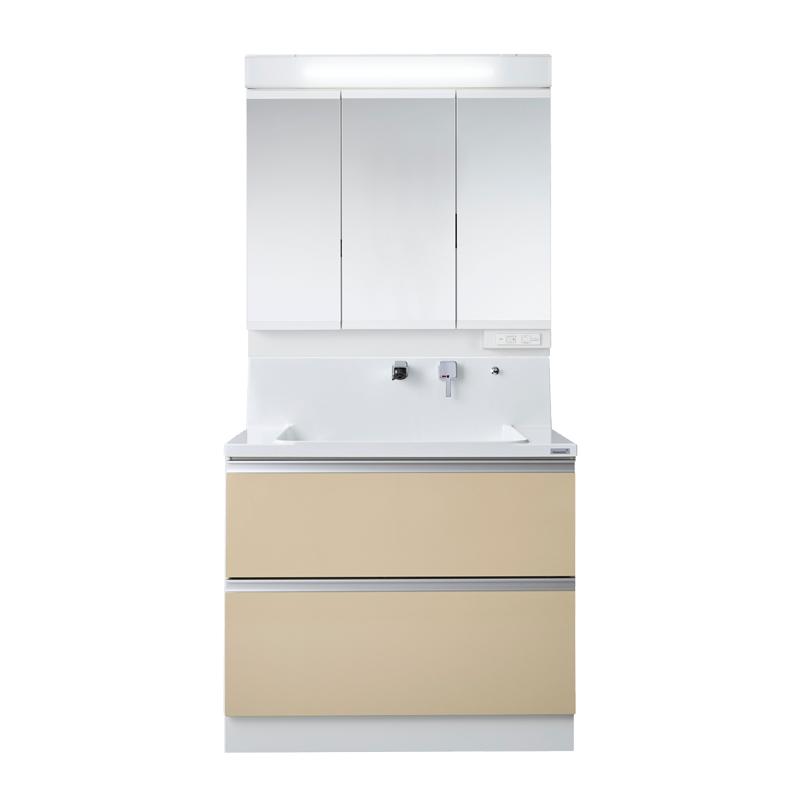 Housetec 洗面化粧台 COCOSH(ココッシュ) 間口900 全引き出しタイプ 三面鏡(ベーシックLED照明付き) 扉Aカラー 一般地仕様 ハウステック