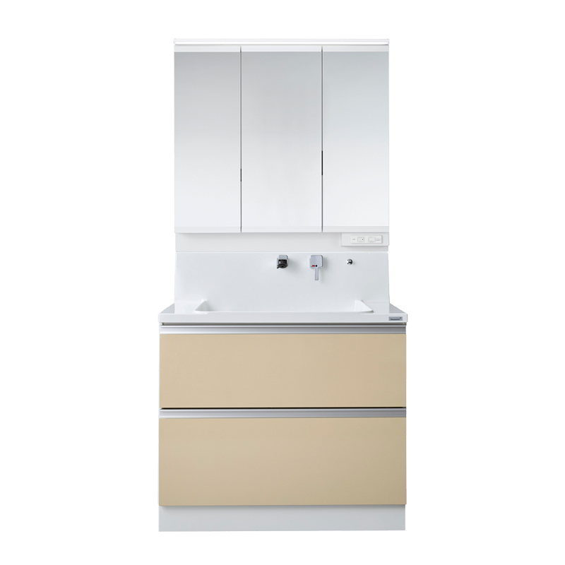 Housetec 洗面化粧台 COCOSH(ココッシュ) 間口900 MAX収納タイプ 三面鏡(スリムLED照明付き) 扉Aカラー 一般地仕様 ハウステック