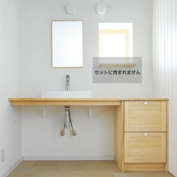 洗面化粧台 無垢の木の洗面台 間口1685mm ボウル位置片寄せ仕様 ニュージーパイン糸面(幕板付)カウンター WA-005